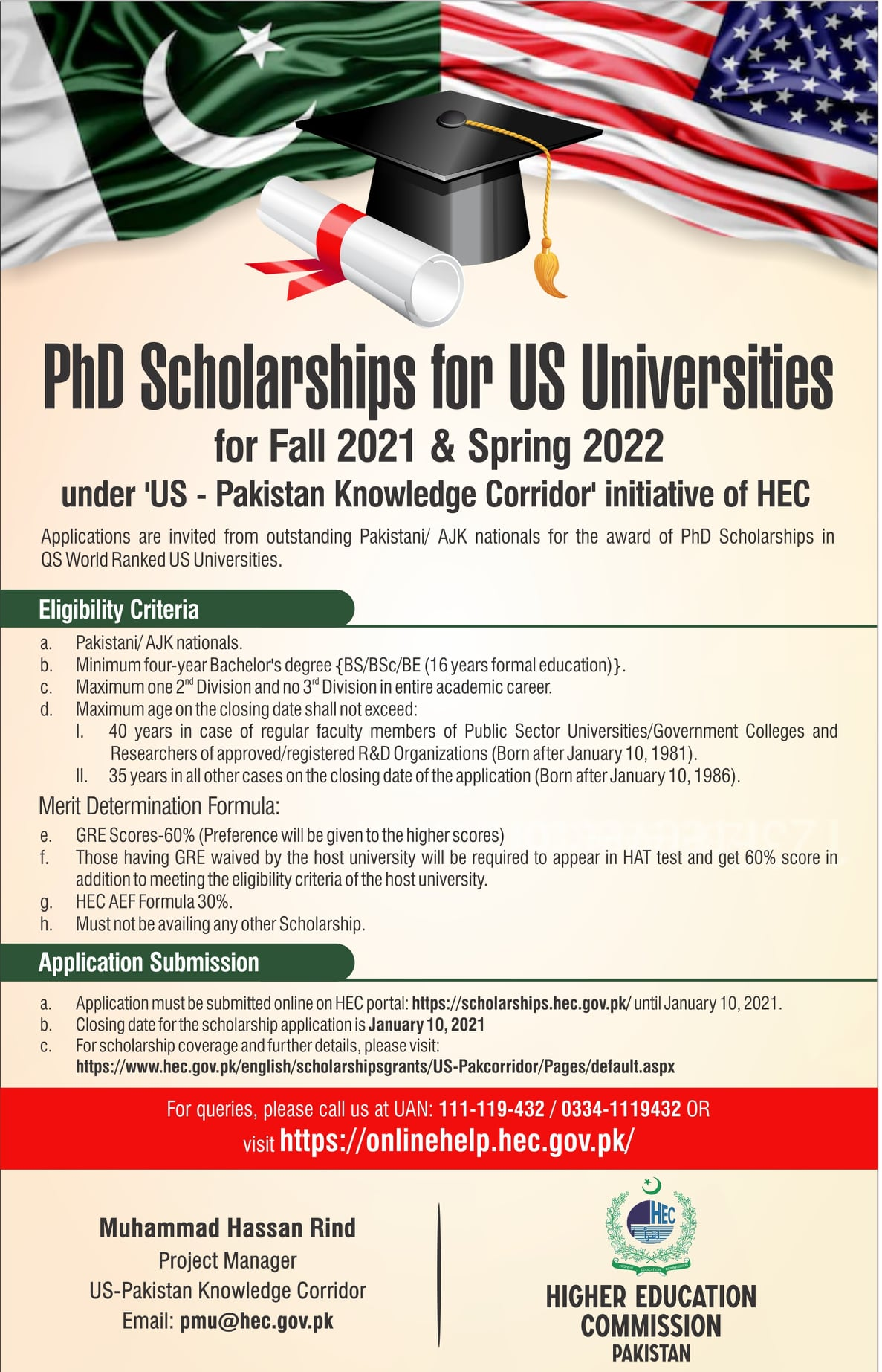 PhD Scholarships for US Universities for Fall 2021 & Spring 2022
