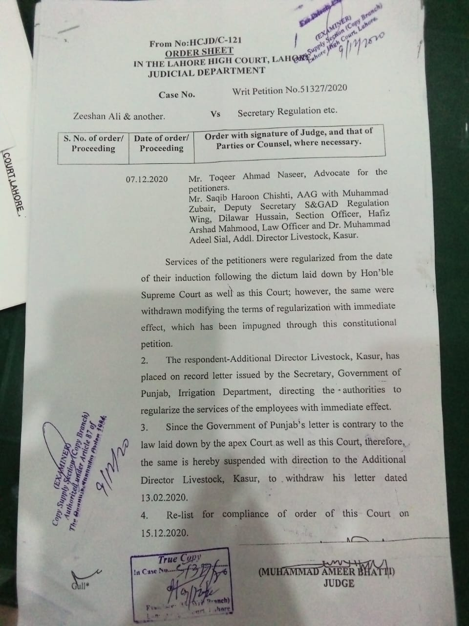 The LHC Lahore Decision of the Dated 07-12-2020