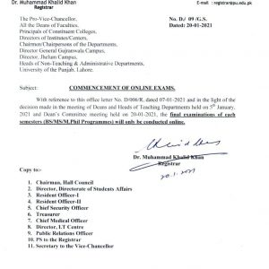 Notification of Commencement Online Annual Exams for Each Semester BS/MS/M.Phil Programs Punjab University