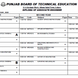 Date Sheet DAE 2nd Annual / Special Exams 2020 PBTE