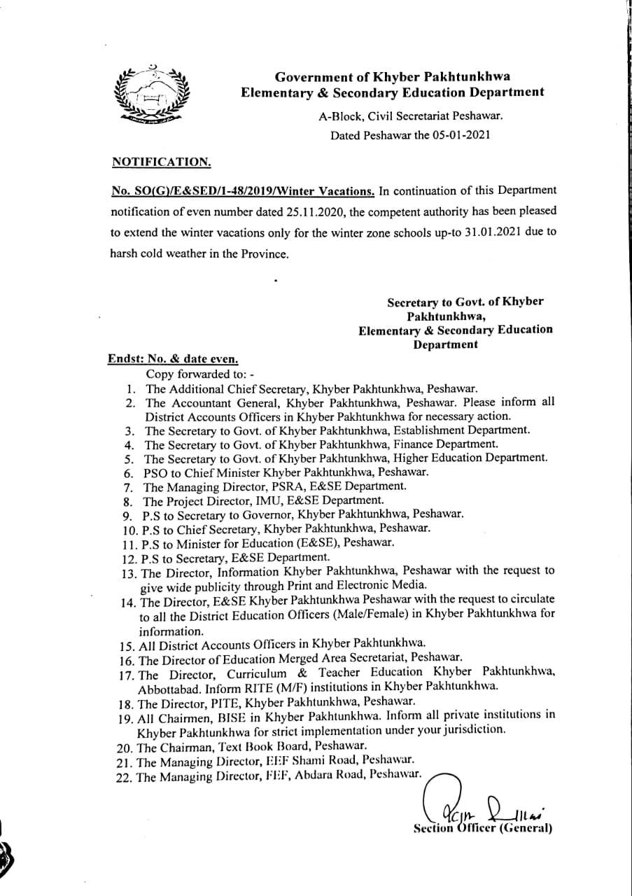 Extension Winter Holidays till 31st January 2021 Due to Harsh Cold Weather Winter Zone KKP