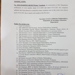 Further Extension Winter Vacation till 15th Feb 2021 in KPK for Winter Zone