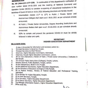 HED Notification of Schedule of Re-Opening Public Private Sector Educational Institutions