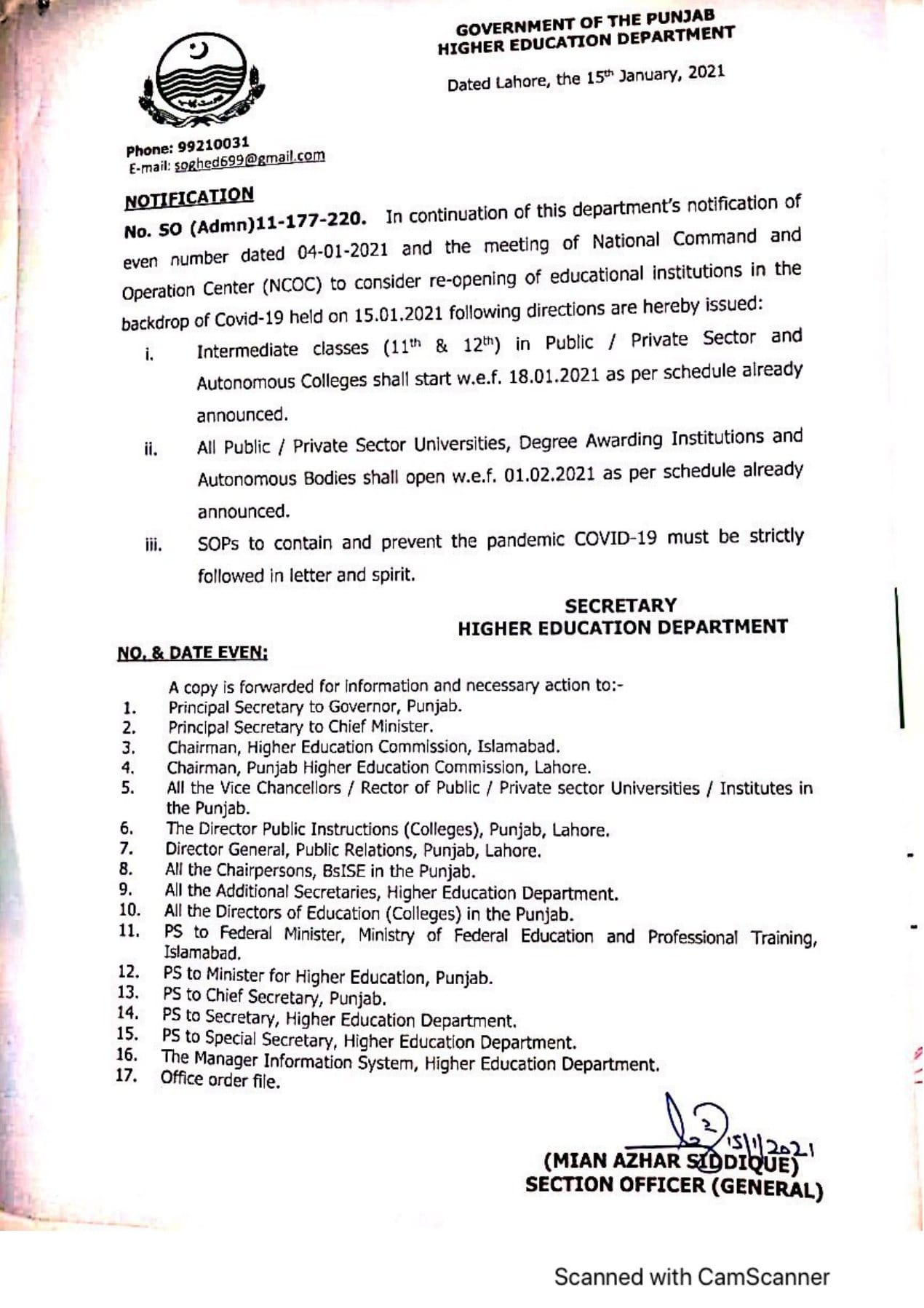 Schedule of Re-Opening Public Private Sector Educational Institutions