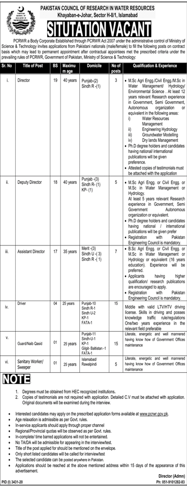 PCRWR Govt of Pakistan Ministry of Science & Technology Jobs 2021