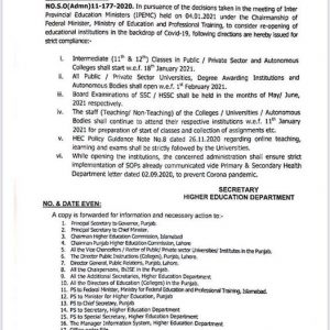 Notification Re-Opening Colleges and Universities Jan 2021 & Directions