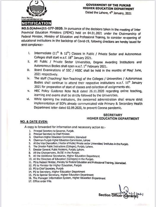 Notification Re-Opening Colleges and Universities