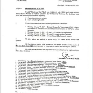 Notification of Reopening of Schools wef 11-01-2021 by Federal Government