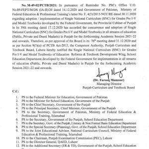 Notification of Single National Curriculum (SNC) for Class Pre One to 5th