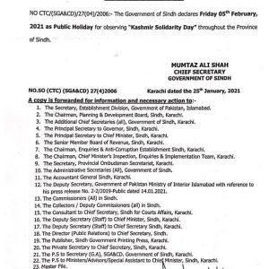 Sindh Government Notification of Public Holiday on Friday 05-02-2021