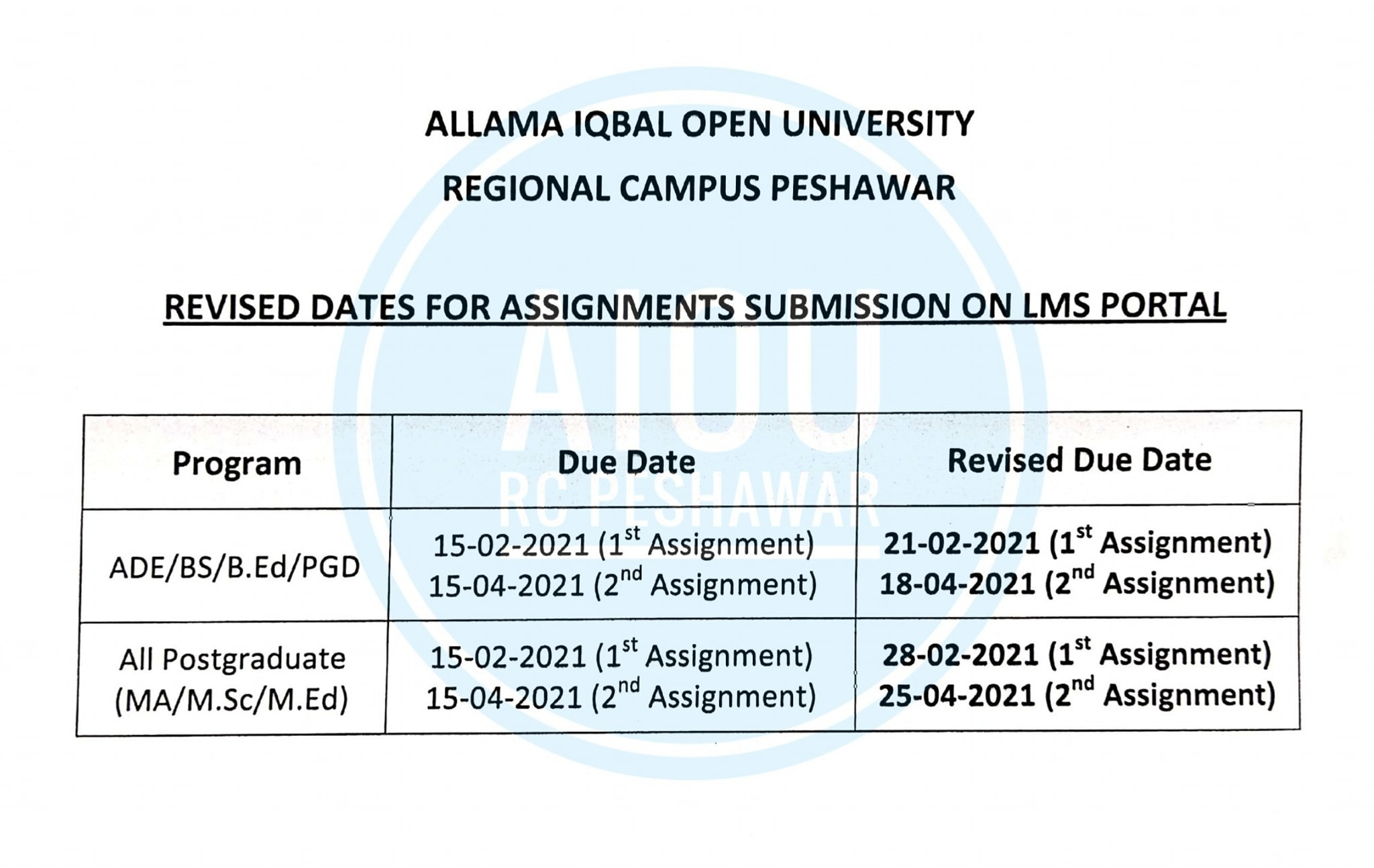 Revised Dates for Assignment Submission