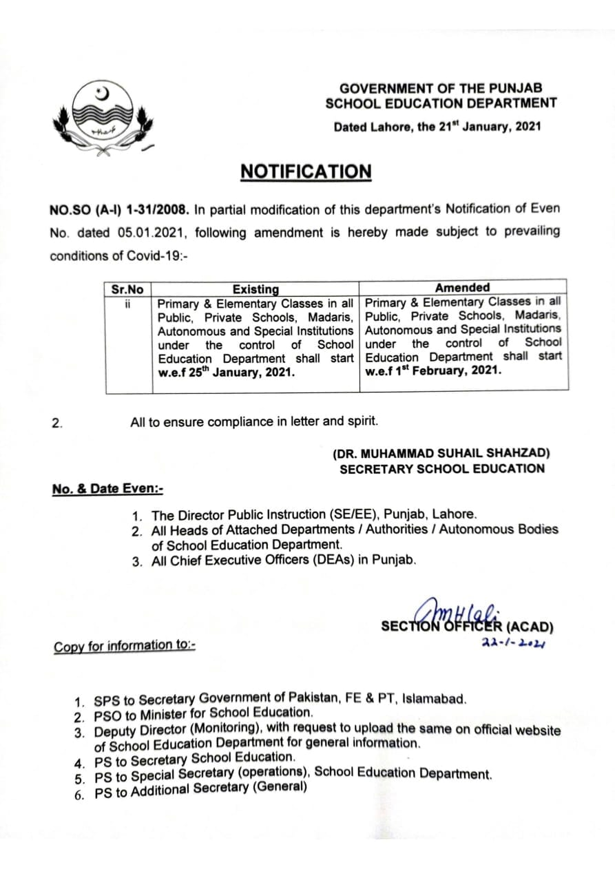 Revised Schedule of Starting Middle and Primary Classes in Punjab Schools