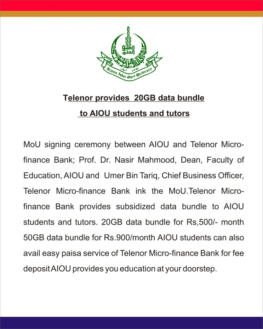 Telenor Provides 20 GB Data Bundle to AIOU Students and Tutors