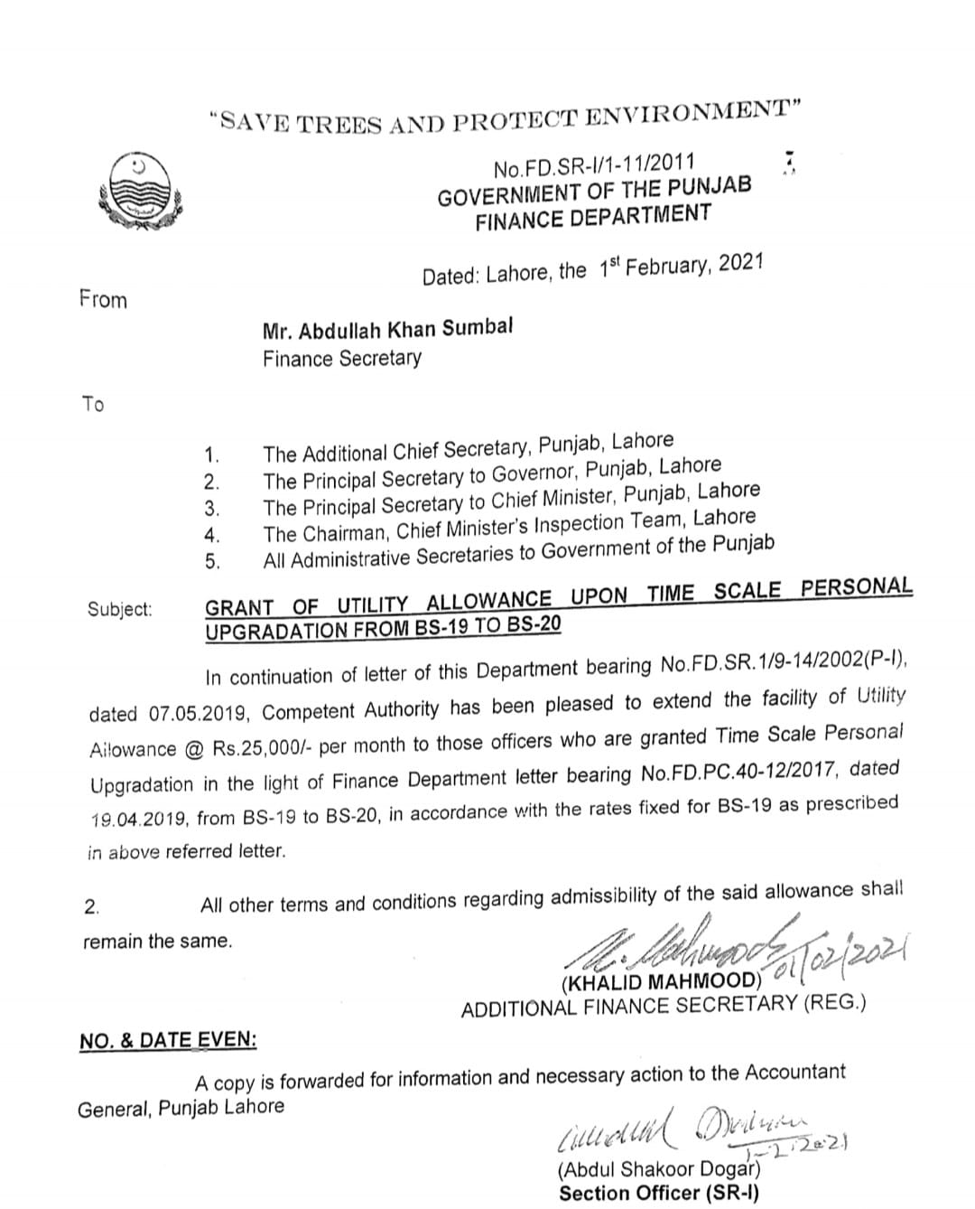 Grant of Utility Allowance Upon Time Scale Personal Upgradation Sindh