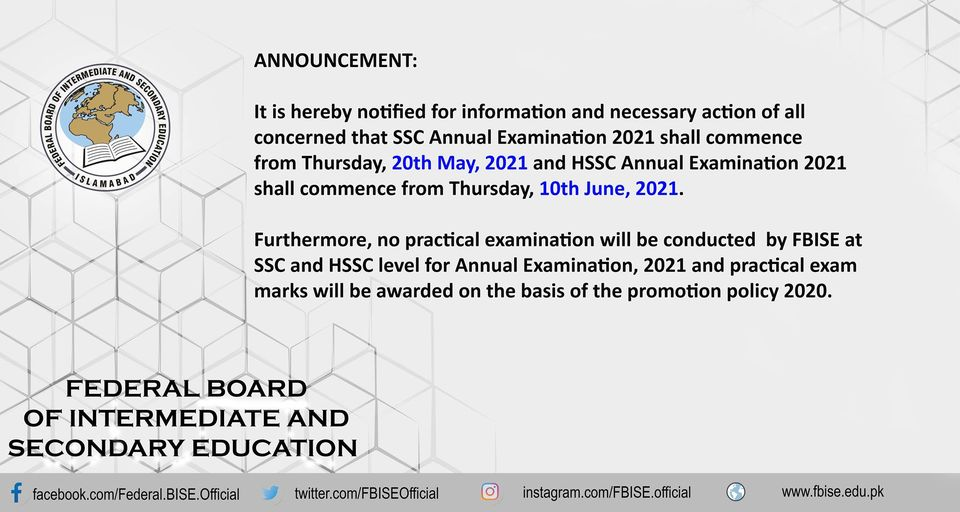 Date of Commencement SSC & HSSC Annual Exams 2021 Islamabad