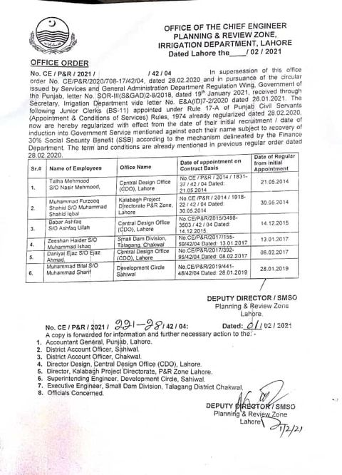 Irrigation Department Employees Regularization wef Date of First Joining