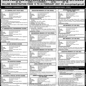 Join Pakistan Air Force as Commissioned Officers 2021