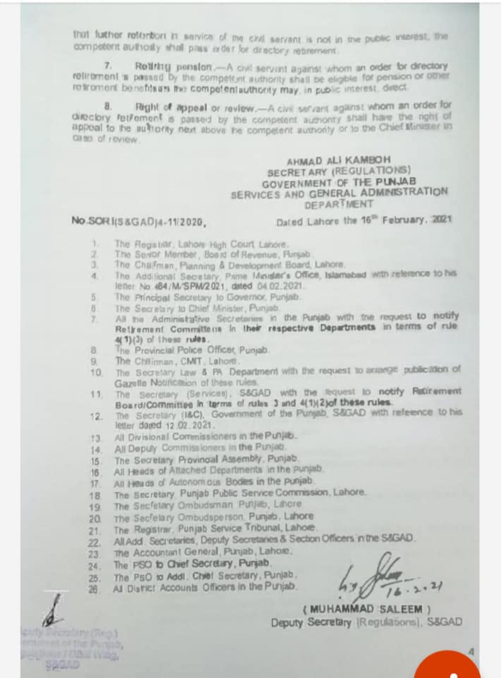 Punjab Civil Servants (Directory) Retirement from Service) Rules, 2021