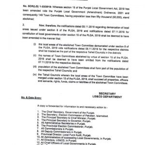 Notification of Abolishment 149 Town Committees having less than 50000 Population