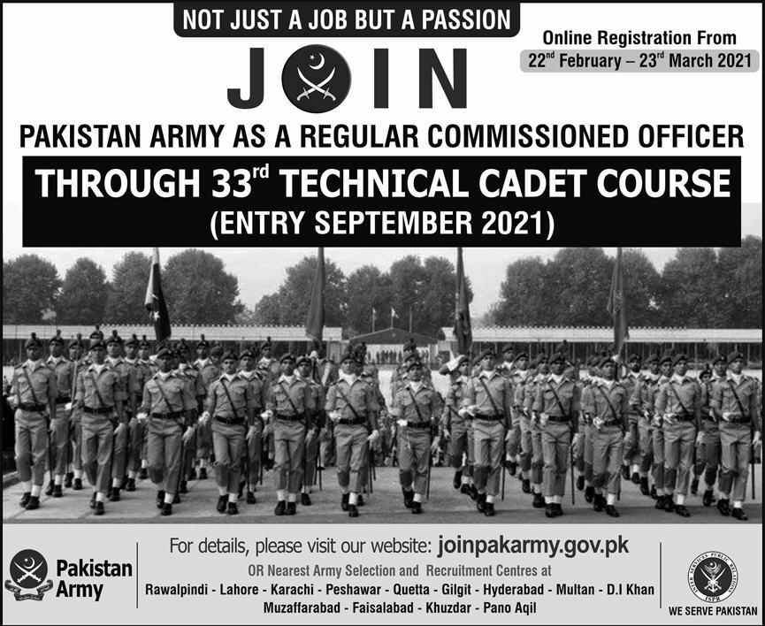 Join Pakistan Army as Regular Commissioned Officer