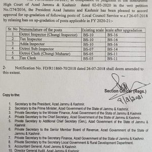 Notification of Upgradation of Various Posts of Local Council Services in AJK