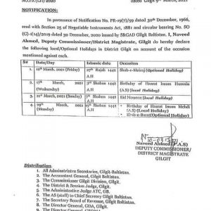 4 Local / Optional Holidays in March 2021 in Gilgit