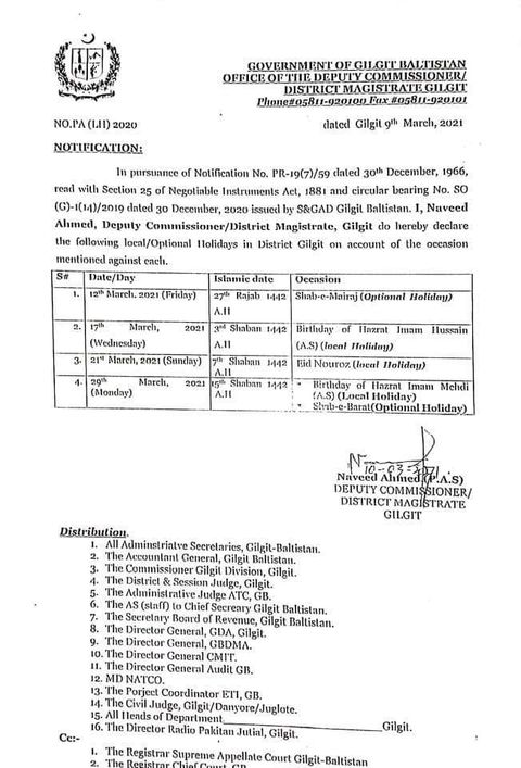 4 Local Optional Holidays in March 2021 in Gilgit