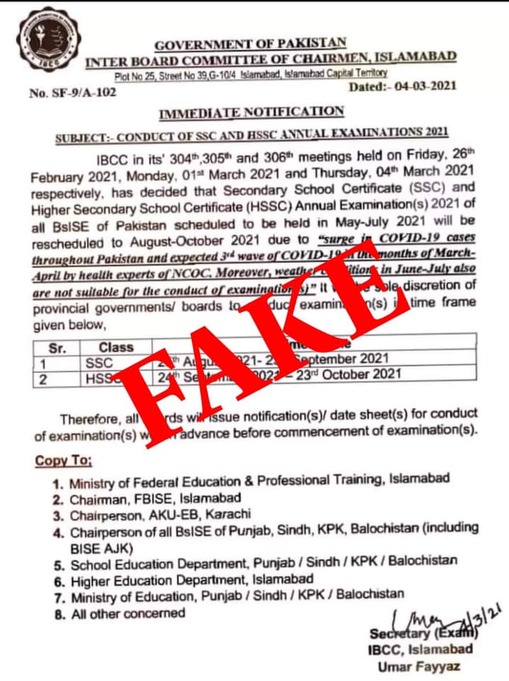 Fake Notification of SSC & HSSC Annual Exams 2021 in Aug-Oct