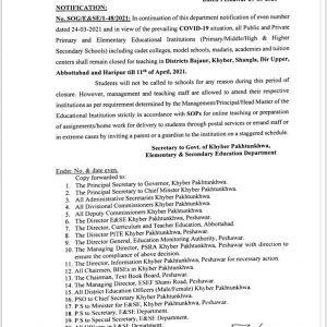 Notification of Holidays in 6 More Districts of KPK till 11th April 2021