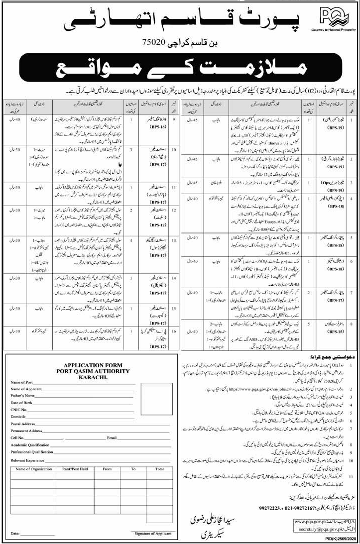 Jobs in Port Qasim Authority 2021 on Contract Basis