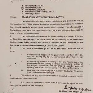 Ministerial Committee Grant of Disparity Reduction Allowance 2021 Punjab