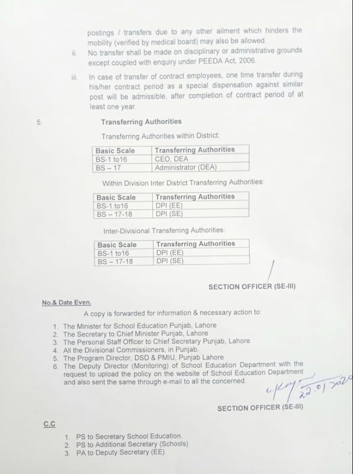 Ministerial Staff Transfer Authority
