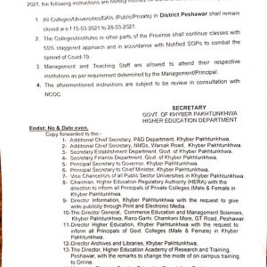 Notification of Closing Colleges /Universities in Peshawar wef 15th Mar 2021