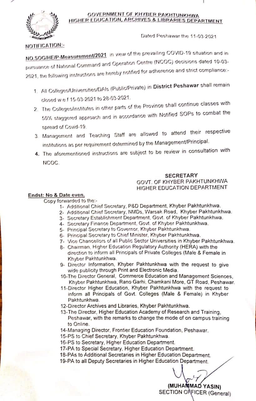 Notification of Closing Colleges