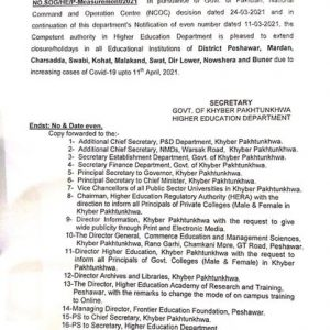 Notification of Extension Closure / Holidays till 11th Apr 2021 in Educational Institutions in KPK
