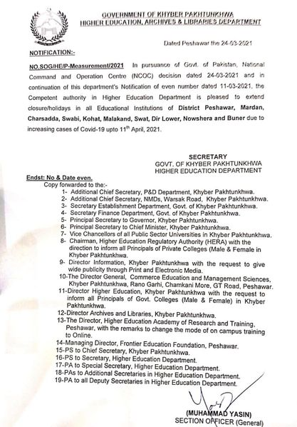 Notification of Extension Closure Holidays in Educational Institutions in KPK