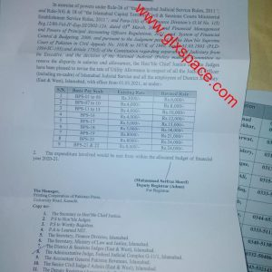 Notification of Revision Utility Allowance 2021 for Judiciary