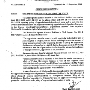 Policy for Upgradation / Re-Designations of Posts by Federal Govt