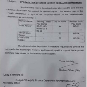 Service Structure and Upgradation of Store Keepers Posts in Health Department KP