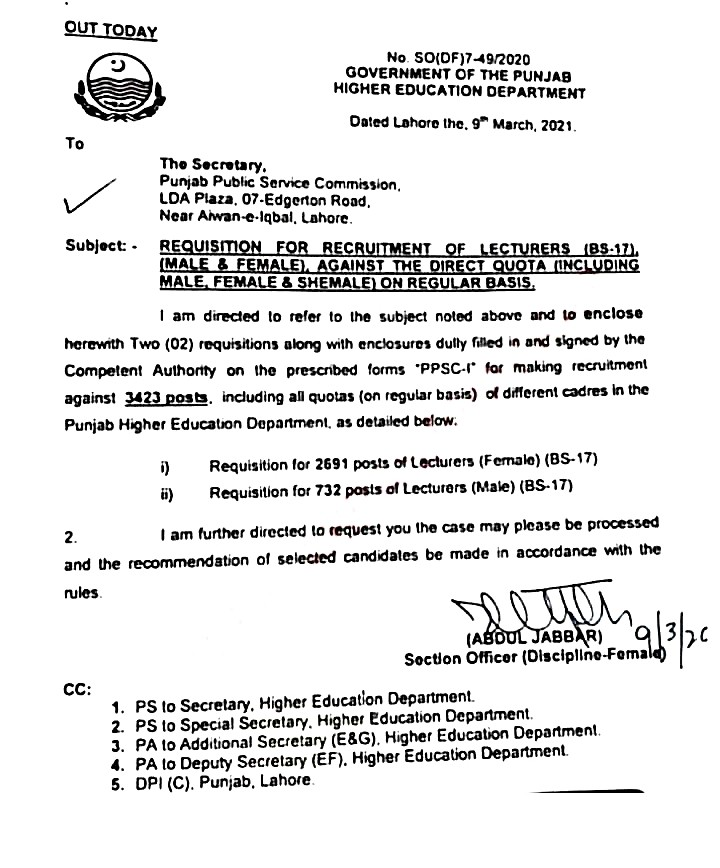 requisition for recruitment of lecturers (BPS-17)