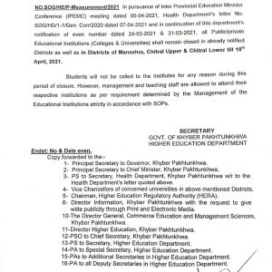 Notification of Closing Educational Institutions in KP till 18th April 2021
