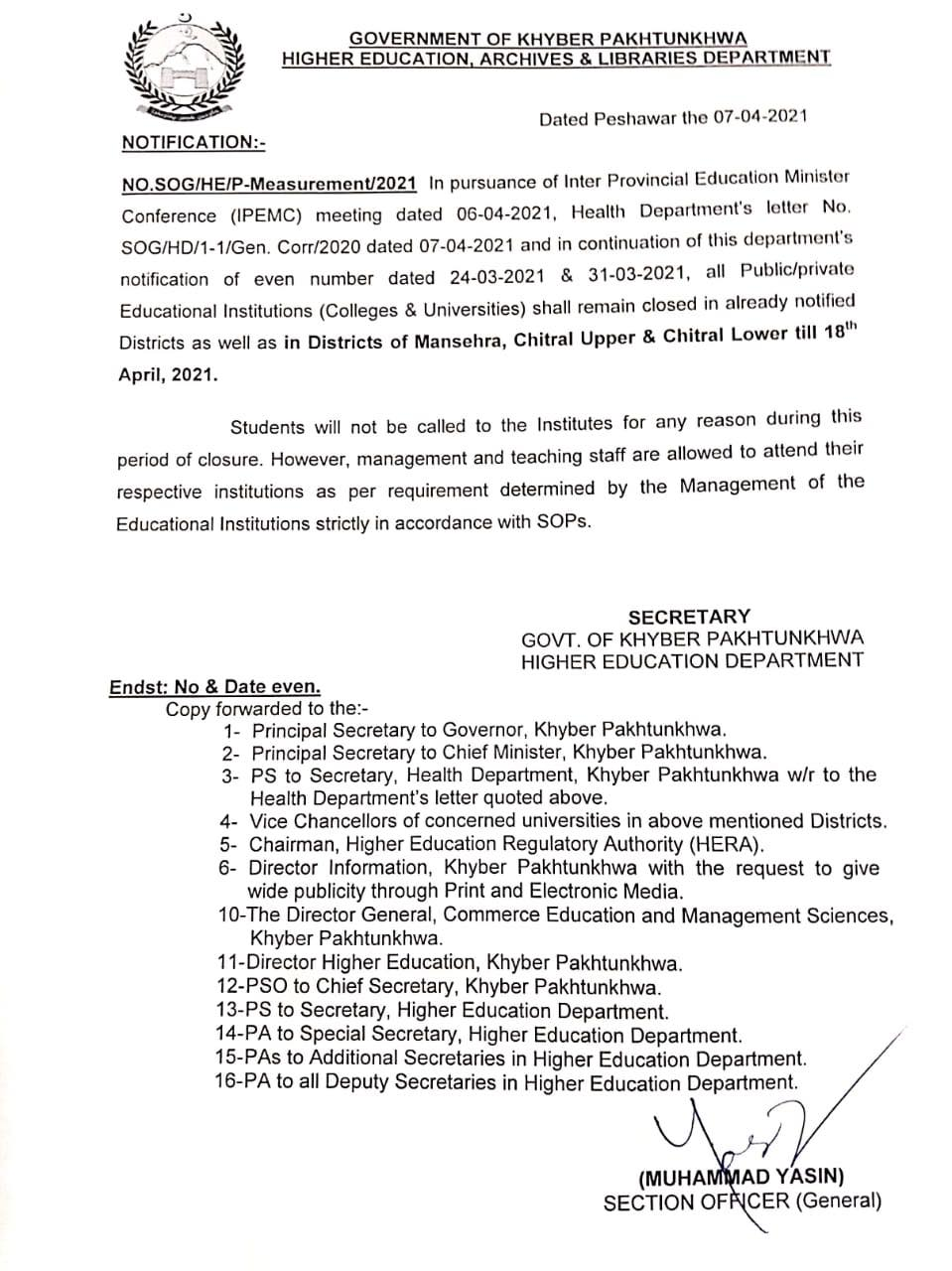 Closing Educational Institutions in KP till 18th April 2021