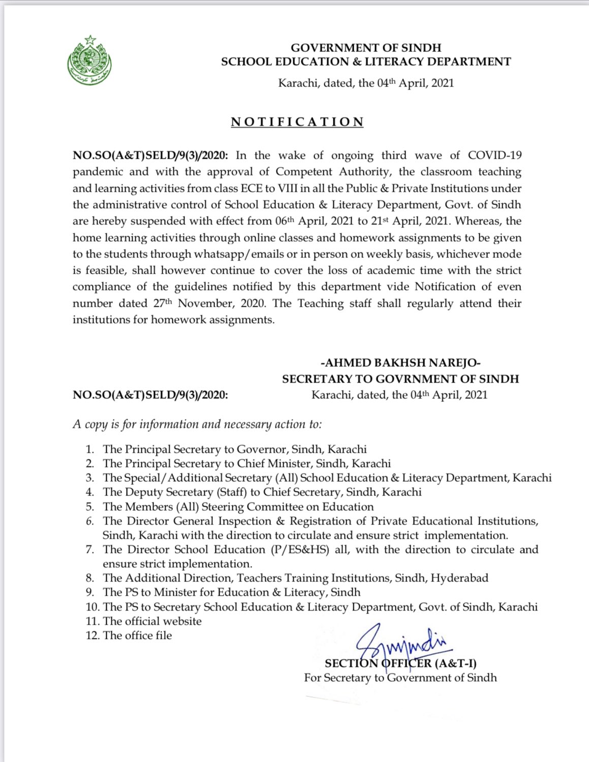 Closing Schools till 21st April 2021 Class ECE to Class 8th in Sindh