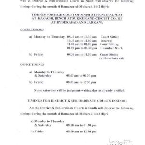 Court/Office Timings during the Holy Month of Ramzan2021 Sindh