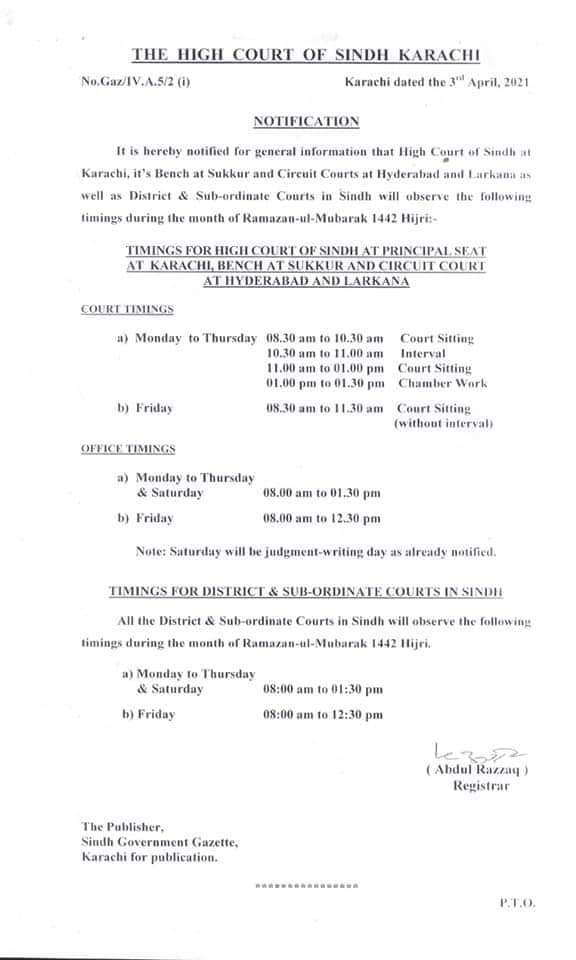 Office Timings during the Holy Month of Ramzan2021