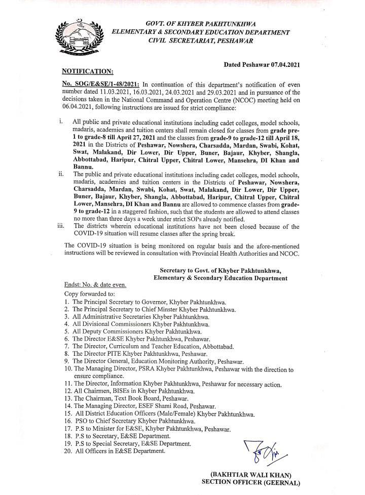 ESE Department KP Notification Closing Schools with New List of Districts