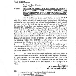 Exclusion of Audit Paras Pertaining to College / School Funds