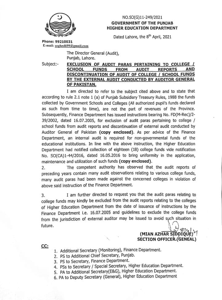 Exclusion of Audit Paras Pertaining to College School Funds