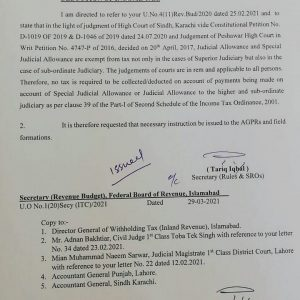 Exemption of Special Judicial Allowance from Deduction of Income Tax