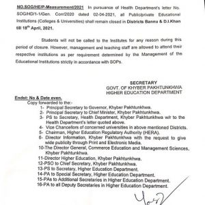 Notification of Extension Closing Educational Institutions to More Districts